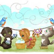 Kittens Washing Mittens Poster