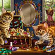 Kittens With Jewelry Box Poster by Anne Wertheim