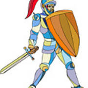 Knight Full Armor With Sword Defending Mosaic Poster