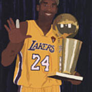 Kobe Bryant Five Championships Poster by Tomas Raul Calvo Sanchez
