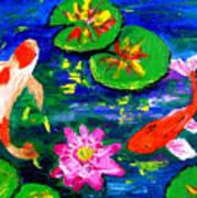 Koi Fishes Pond Poster