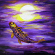 Koi In Purple Twilight Poster