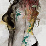 Koi No Yokan - Erotic Drawing, Sexy Tattoo Girl In Thong Biting An Apple Poster
