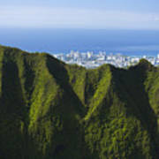 Koolau Mountains And Honolulu Poster
