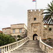 Korcula Old Town Stairs Poster