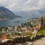 Kotor Panoramic View From The Fortress Poster by Kiril Stanchev