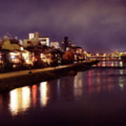 Kyoto Nighttime City Scenery Of Kamo River With Street Lights Re Poster