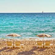 La Croisette Beach, Cannes, Cote D'azur, France Poster by John Harper