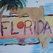 La Florida Flowered Land Poster