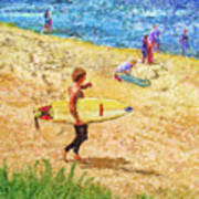 La Jolla Surfers Poster by Marilyn Sholin