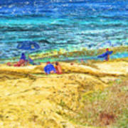 La Jolla Surfing Poster by Marilyn Sholin