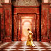 Lady In Golden Gown Walking Through Doorway Poster