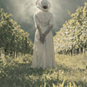Lady In Vineyard Poster