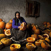 Lady With Pumpkins Poster