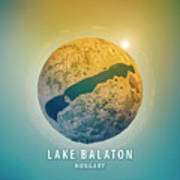 Lake Balaton 3d Little Planet 360-degree Sphere Panorama Poster