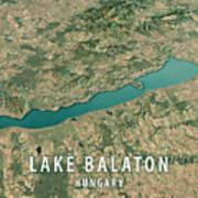 Lake Balaton 3d Render Satellite View Topographic Map Horizontal Poster