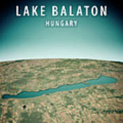 Lake Balaton 3d Render Satellite View Topographic Map Vertical Poster
