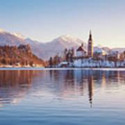 Lake Bled Winter Sunrise Poster