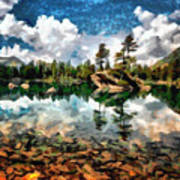 Lake Island View Poster