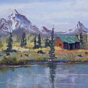 Lake Jenny Cabin Grand Tetons Poster