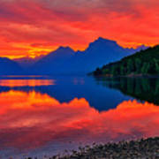 Lake Mcdonald Fiery Sunrise Poster