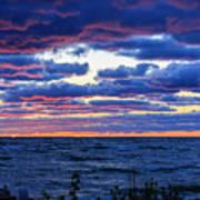 Lake Michigan Windy Sunrise Poster