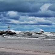 Lake Michigan With Big Wind  Poster