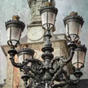 Lamppost Plaza Mayor Madrid Spain Poster