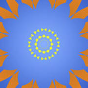 Landscape Abstract Blue, Orange And Yellow Star Poster