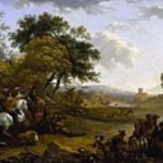 Landscape With A Hunting Party Nicolaes Claes Pietersz Berchem Poster