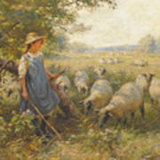 Landscape With A Shepherdess Poster