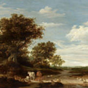 Landscape With Gracing Cows And Sheep Poster