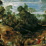 Landscape With Milkmaids And Cows Poster