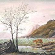 Landscape With Mountain Lion Poster
