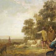 Landscape With Shepherds And Shepherdesses Near A Well Poster