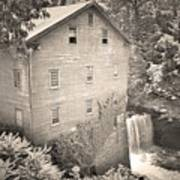 Lanterman's Mill In Mill Creek Park Black And White Poster
