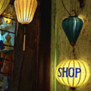 Lanterns At A Gift Shop Entrance Poster