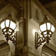 Lanterns - Night In The City - In Sepia Poster