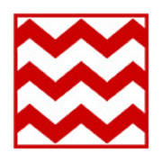 Large Chevron With Border In Red Poster