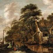 Large Farmstead On The Bank Of A River Poster