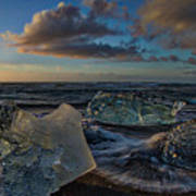 Large Icebergs At Dawn #4 - Iceland Poster