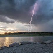 Large Lighting From Dark Clouds During Sunset At Large Lake Poster