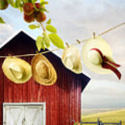 Large Red Barn With Hats On Clothesline In Field Of Wheat Poster