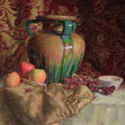 Large Vase With Apples Poster
