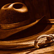 Lariat And Hat - Sepia Poster