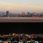 Las Vegas Skyline At Dawn And At Night Poster