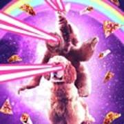 Laser Eyes Space Cat Riding Sloth, Dog - Rainbow Poster