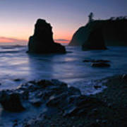 Last Light At Ruby Beach Poster