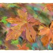 Last Of The Fall Leaves Abstract Digital Art Poster