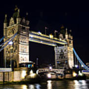 Late Night Tower Bridge Poster by Elena Elisseeva